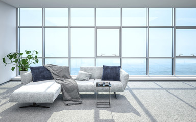 Luxurious, bright penthouse living room and sofa
