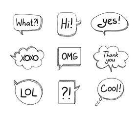 Vector Set of Hand Drawn 3D Cartoon Talk Bubbles Isolated on White Background, Black Elements.