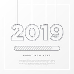 Happy New Year 2019 card theme. strip loading time button with rope hanger on white background