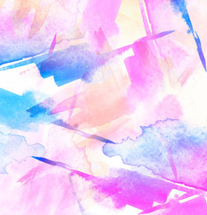 Watercolor blue, pink, orange  background, blot, blob, splash of blue,pink paint. Watercolor blue, pink sky, spot, abstraction. Abstract art illustration, scenic background. Abstract artistic frame