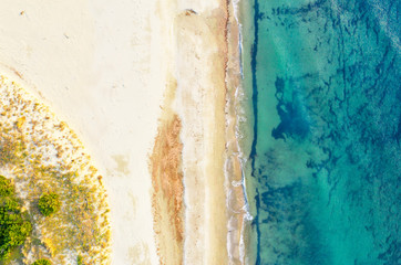 Coastline drone view on sunny day