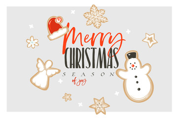 Hand drawn vector abstract fun Merry Christmas and Happy New Year time cartoon illustration greeting card with gingerbread cookies and Merry Christmas text isolated on white background