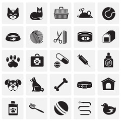 Pet icons set on squares background for graphic and web design, Modern simple vector sign. Internet concept. Trendy symbol for website design web button or mobile app