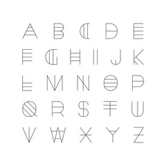 Creative futuristic font. Modern english alphabet, unusual latin letters