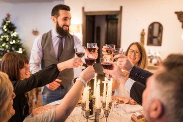 Family toasting and celebrating Christmas and New Year