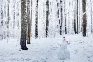 Funny snowman in red cap