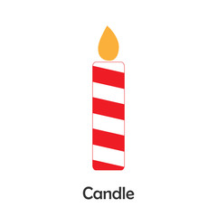 Candle in cartoon style, christmas card for kid, preschool activity for children, vector illustration