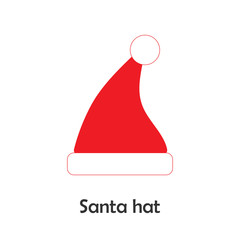 Santa hat in cartoon style, christmas card for kid, preschool activity for children, vector illustration