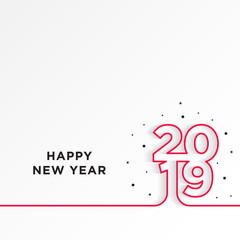 Happy New Year 2019 card theme. line red on white gradient background