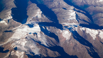 Alps from plane window.