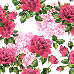 Romantic bloom - hydrangea, red roses flowers. Seamless summer floral background. Watercolor