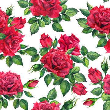 Romantic bloom - red roses flowers. Seamless floral background. Watercolor