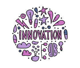 Innovation concept in doodle style. Vector design.