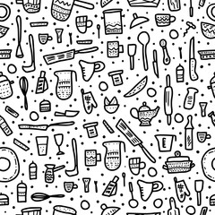 Vector seamless pattern of kitchen equipments.