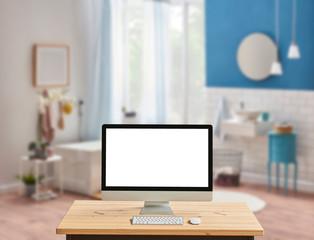 Bath room background close up desktop screen on the desk.