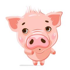 Cute little pig. Cartoon character.  Illustration of cute funny emoji characters.  Shy characters. Stickers. Flat style.