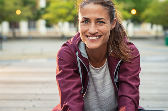 Smiling mature sporty woman
