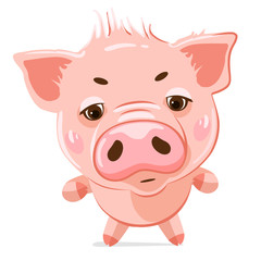 Cute little pig. Cartoon vector character.  Vector illustration of cute funny emoji characters.  Evil characters. Stickers. Flat style.