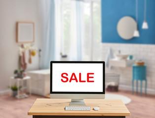 Bath room promotion explain style via internet, bath room background, desktop computer screen.
