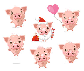 Set of cute little pig in different actions.  Vector set of cute funny emoji characters. Scared, surprised, in love, happy, hugs,  evil, festive, shy, characters. Stickers. Flat style.
