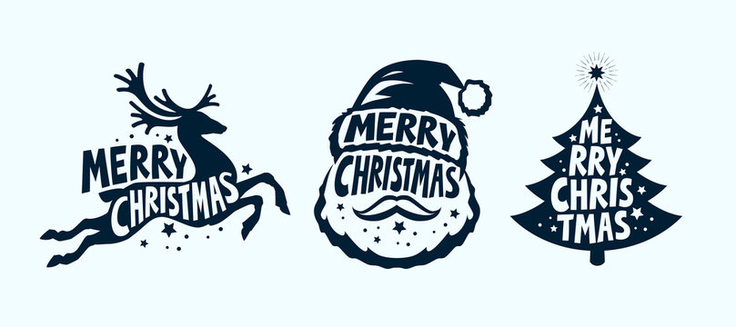 Merry Christmas, label set. Xmas symbol. Typographic design vector illustration