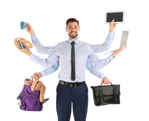 Multitask businessman with many hands holding different stuff on white background. Combining life and work