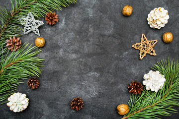 Beautiful Christmas Background with copy space for your text. Pine branch, cones, cinnamon and nuts