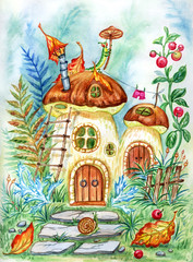 Fairy-tale house- mushroom, watercolor illustration. Corner of the magic forest with mushrooms, ferns, lingonberries, caterpillar and snail.