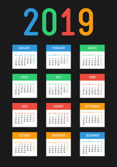 Vector 2019 new year calendar. Bright contrast design. The week starts on Monday.