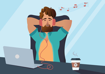 Handsome young businessman worker freelance casual tired having break rest at home office laying down on chair listening music headphones from notebook concept Vector illustration cartoon character.