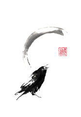 Japanese style sumi-e painting with crow and moon