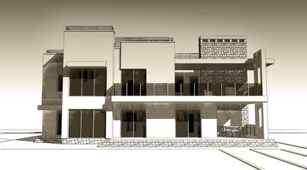 3d pencil sketch illustration of a modern private building exterior facade design. Old paper or sepia effect