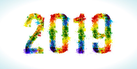 2019 year paint splashes. Gradient Vector Font. Number.