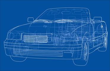 Car cabriolet concept. 3d illustration