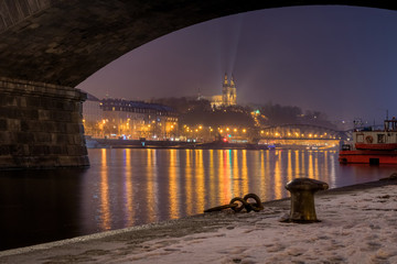 Foggy night under Palackeho bridge view beautiful view on Vysehrad