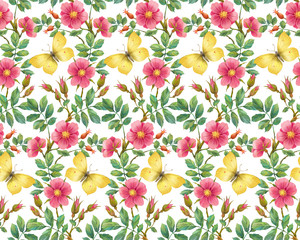 Wild rose and yellow butterfly. Seamless background pattern. Version 1
