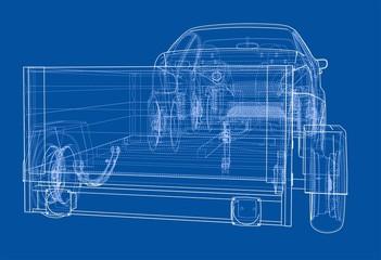 Sedan with open trailer sketch