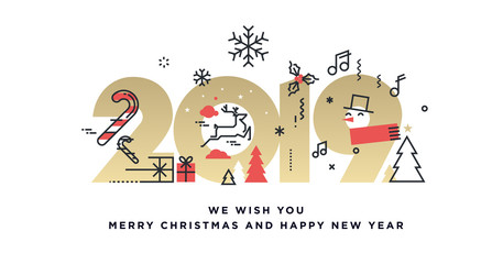 Merry Christmas and Happy New Year 2019 business greeting card. Vector illustration concept for background, party invitation card, website banner, social media banner, marketing material.