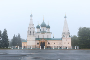 Architecture of Yaroslavl town, Russia. Old orthodox church of Elijah the Prophet at the early morning in the fog. UNESCO World Heritage Site.