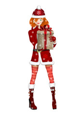 Cute girl in suit Snow Maiden on a snowy winter day. Snow Maiden with a Christmas gift in hand. Vector illustration