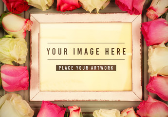 Frame Surrounded by Roses Mockup
