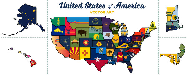 united states map   isolated state graphics and paths   vector art
