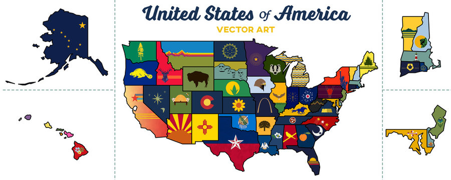 united states map | isolated state graphics and paths | vector art
