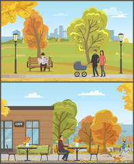 Man Sitting by Table of Cafe Autumn Set Vector