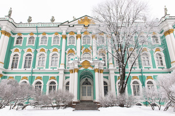 Winter Palace on the Palace Square in the snow, St. Petersburg, Russia.