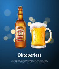 Oktoberfest Poster with Beer in Bottle and Mug