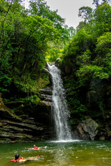 Bhalu Gaad Waterfall, after a long hike through the forest, a perfect place for swimming, Mukteshwar, Uttarakhand