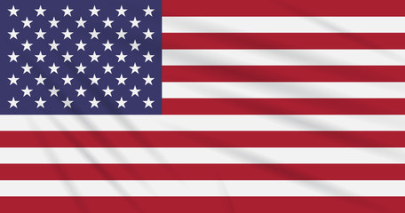 Flag USA swaying in wind, realistic vector