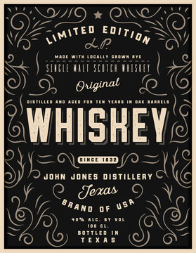 Hand drawn whiskey label with ornament elements