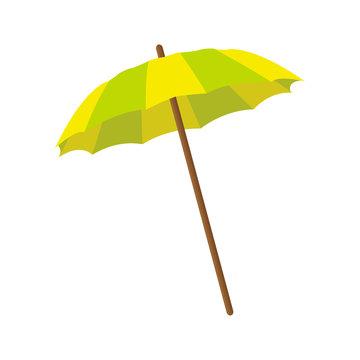 Beach umbrella. Summer. Yellow-green umbrella. Vector illustration . EPS 10.
